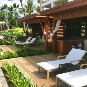 Adult-Pool-Deck-Super-Cabanas with Ipe Decking and Buzon Pedestals