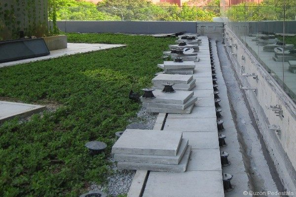 Green Roof with Natural Stone and Buzon Pedestals - HDG Building Materials