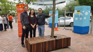 Erik Nelson with Thermory bench and designers of A Quite Place to Sit and Rest