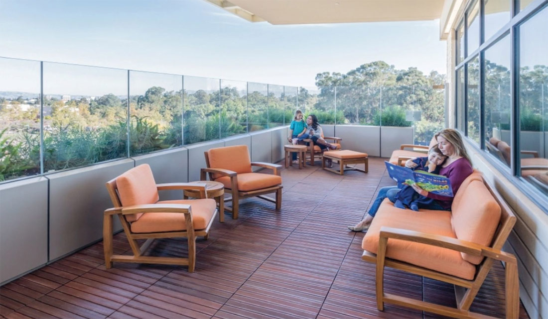 Hospital Design Features Outdoor Patios and Gardens - HDG Building