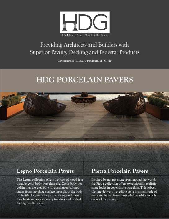 cover image of HDG Porcelain Paver brochure - HDG Building Materials