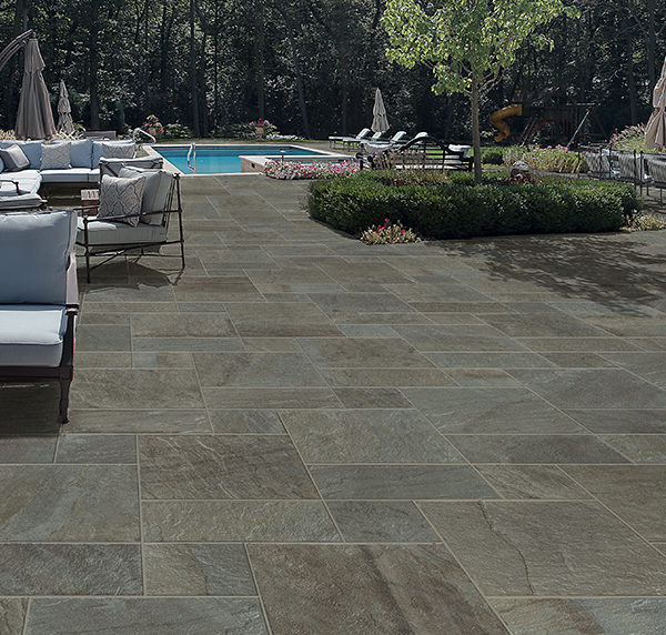 HDG Kaia Blue Cleft Finish Porcelain Paver on Pool Surround - HDG Building Materials