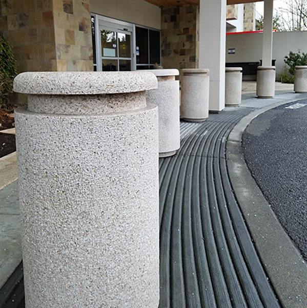 granite bollards and ADA raked pavers concrete paving - HDG Building Materials