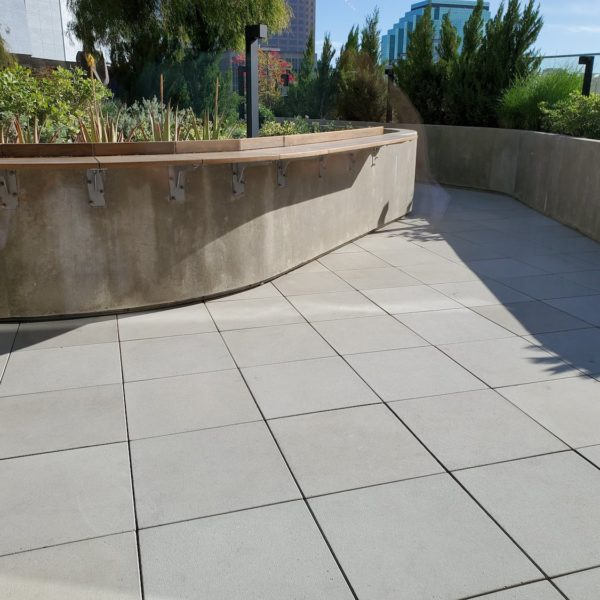 Concrete Pavers and Buzon Pedestals on Hotel Walkway - HDG Building Materials