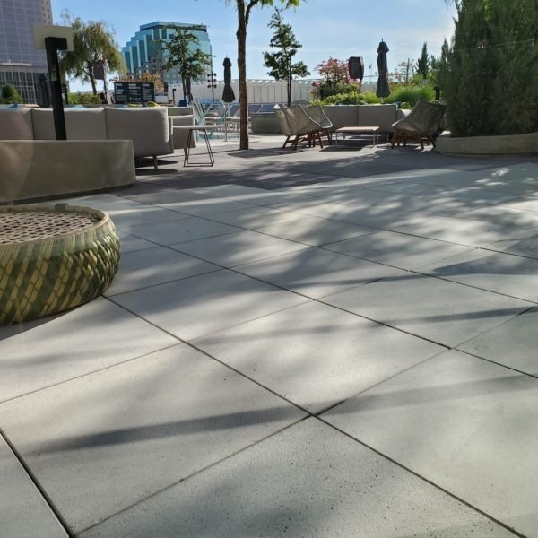 Concrete Pavers in Two Colors on Hotel Decking - HDG Building Materials