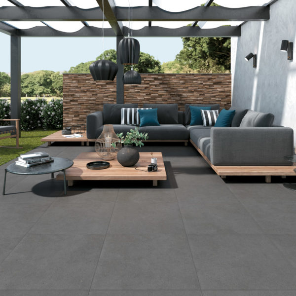 Outdoor Living Room with HDG Pietra Pavero Pewter Structural Porcelain Pavers EP08 - HDG Building Materials