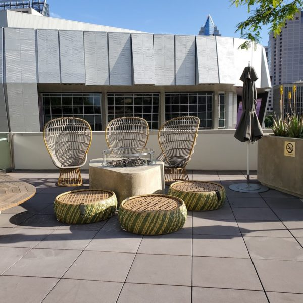 Outdoor Seating on Deck with Buzon Pedestals and Concrete Pavers - HDG Building Materials
