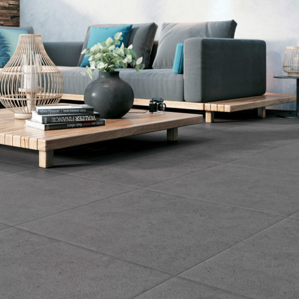 Outdoor Terrace with HDG Pietra Pavero Pewter Porcelain Pavers EP08 - HDG Building Materials