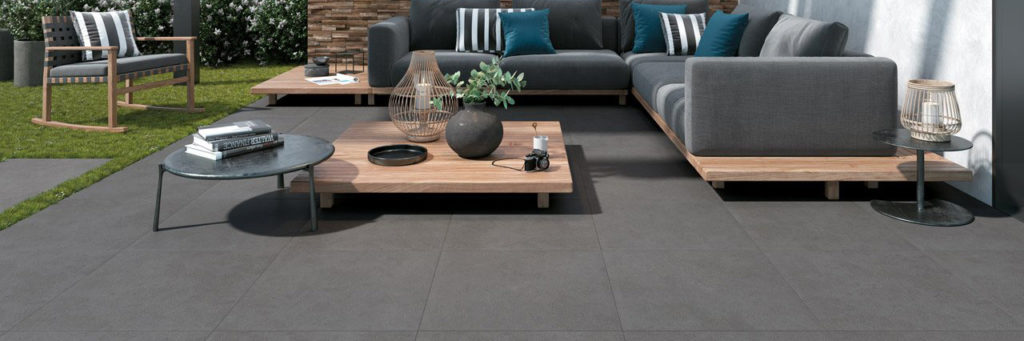 Outdoor Terrace with HDG Pietra Pavero Pewter Structural Porcelain Pavers EP08 esprit - HDG Building Materials