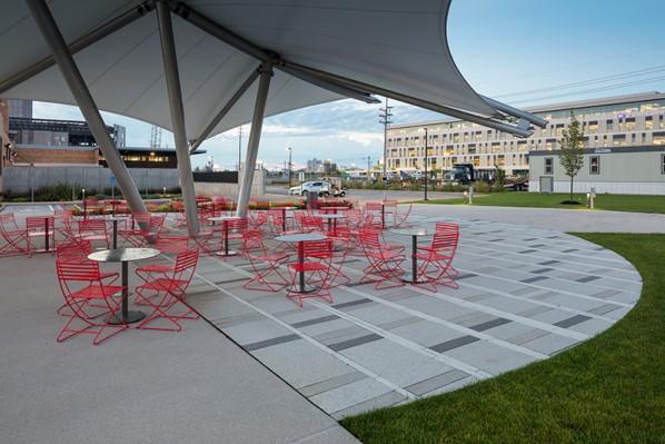 HDG Tech Fine Concrete Paver Next to Grass and Concrete