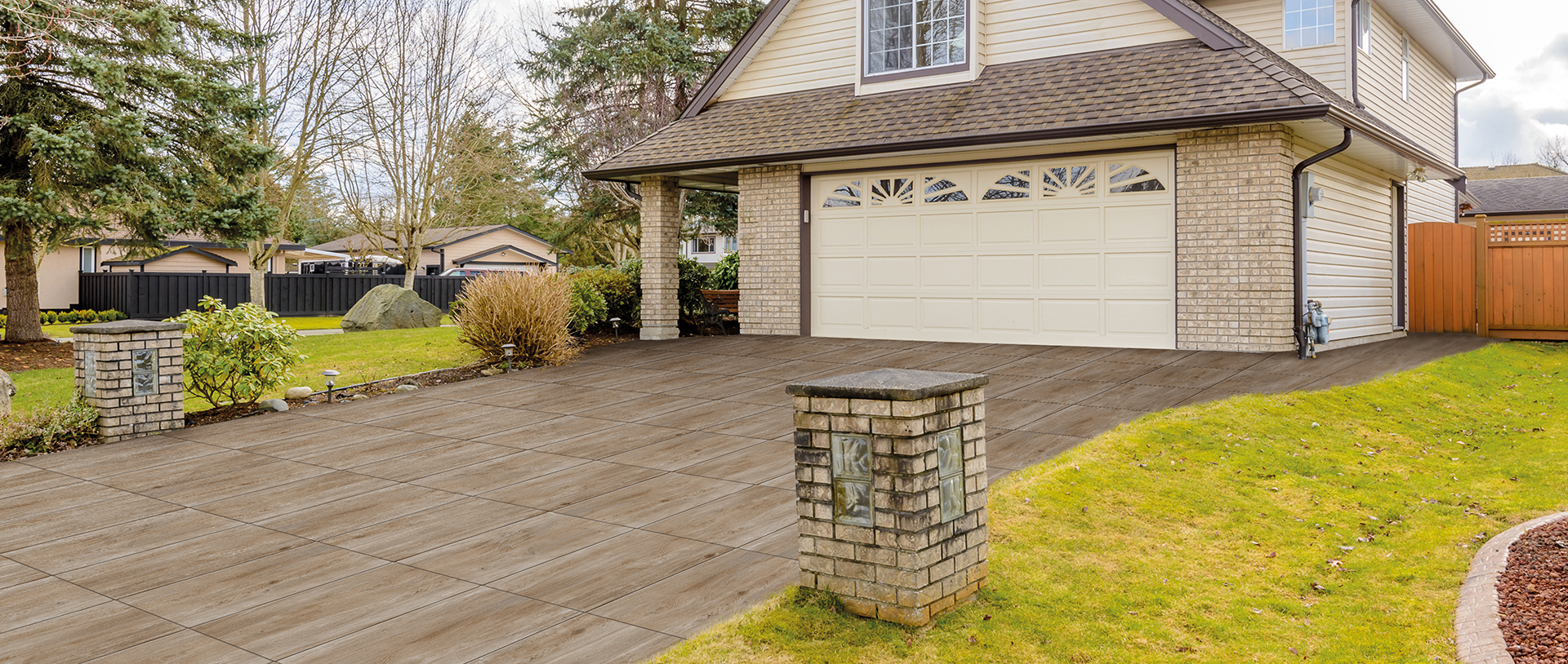 Driveway Application with 3CM SH Series HDG Chiaro Cream Porcelain Pavers - HDG Building Materials