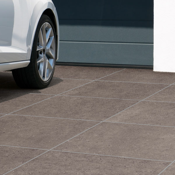 Driveway Application with HDG Ombra Taupe 3CM Porcelain Pavers - HDG Building Materials
