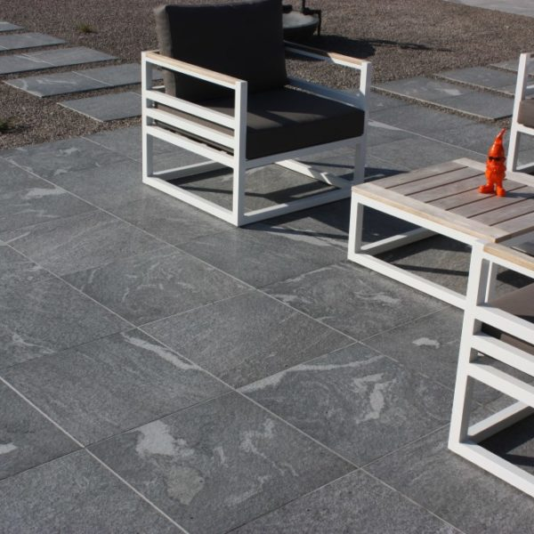 Outdoor Patio Shows Limestone Finish on HDG Orgami Grey 3CM Porcelain Pavers - HDG Building Materials
