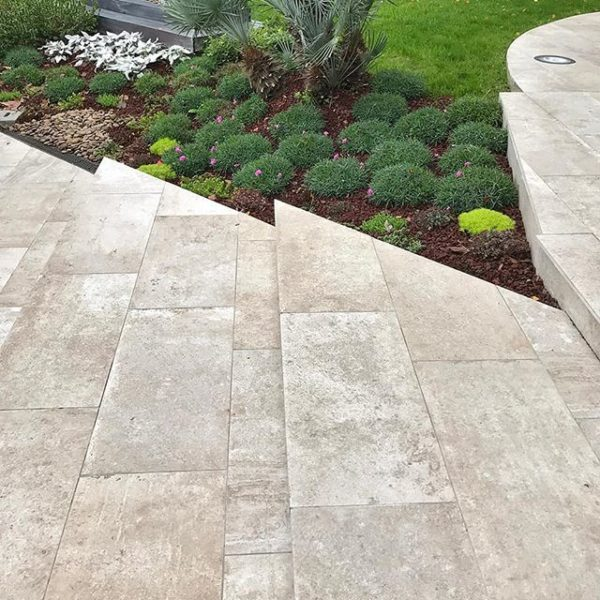 Outdoor Steps with SH Series HDG Moka Greige Porcelain Pavers - HDG Building Materials