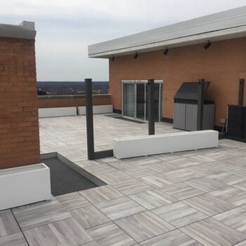 Acacia 60x60 cm Porcelain Pavers Installed Over Pedestals on Raised Terrace