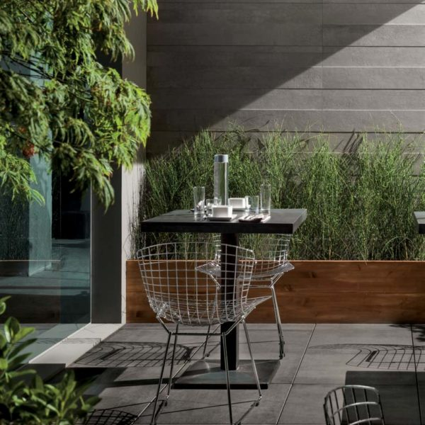 CC-Moda Black 60x60 cm Porcelain Paver in courtyard - HDG Building Materials