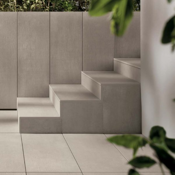 CC-Moda Greige 60x60 2cm Porcelain Paver Courtyard and Stairs - HDG Building Materials