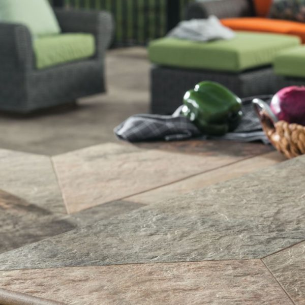 Jamba Sand Porcelain Pavers with Slate - Coarse Finish - Courtyard Detail - HDG Building Materials