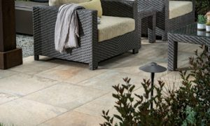 Jamba Sand Porcelain Pavers with Slate - Coarse Finish - Outdoor Living Room - HDG Building Materials