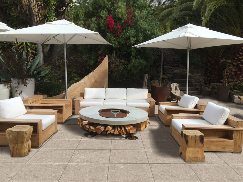 Kaia Tan 60x60 cm Porcelain Pavers in Outdoor Terrace with Firepit - HDG Building Materials