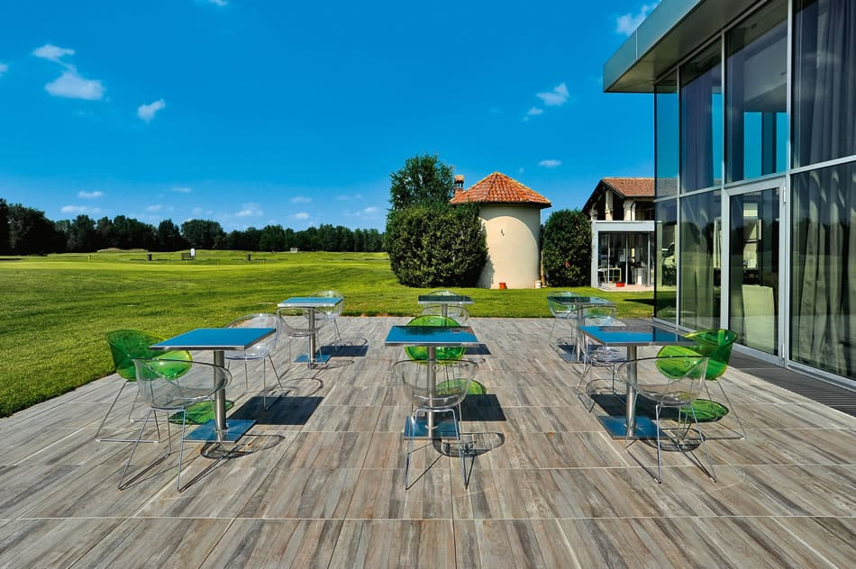 Kauri Grey Wood Finish Porcelain Paver - Outdoor Dining Application - HDG Building Materials