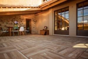 Orinda Wood Look Porcelain Pavers in Outdoor Terrace Application - HDG Building Materials
