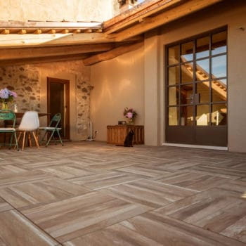 Orinda Wood Look Porcelain Pavers in Outdoor Terrace Application - HDG Building Materials