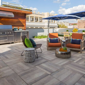 Outdoor Terrace with Kitchen Uses Orinda Porcelain Pavers