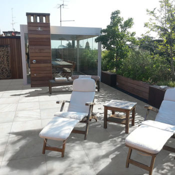 Quarry White 60x60 cm Porcelain Paver in Rooftop Deck - HDG Building Materials