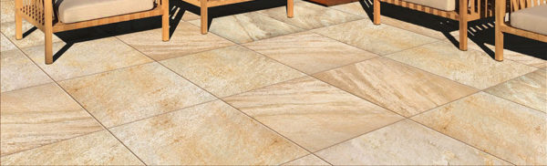 Rusty-Tan Quartzite Finish 60x60 cm Porcelain Paver in Outdoor Kitchen Application - HDG Building Materials