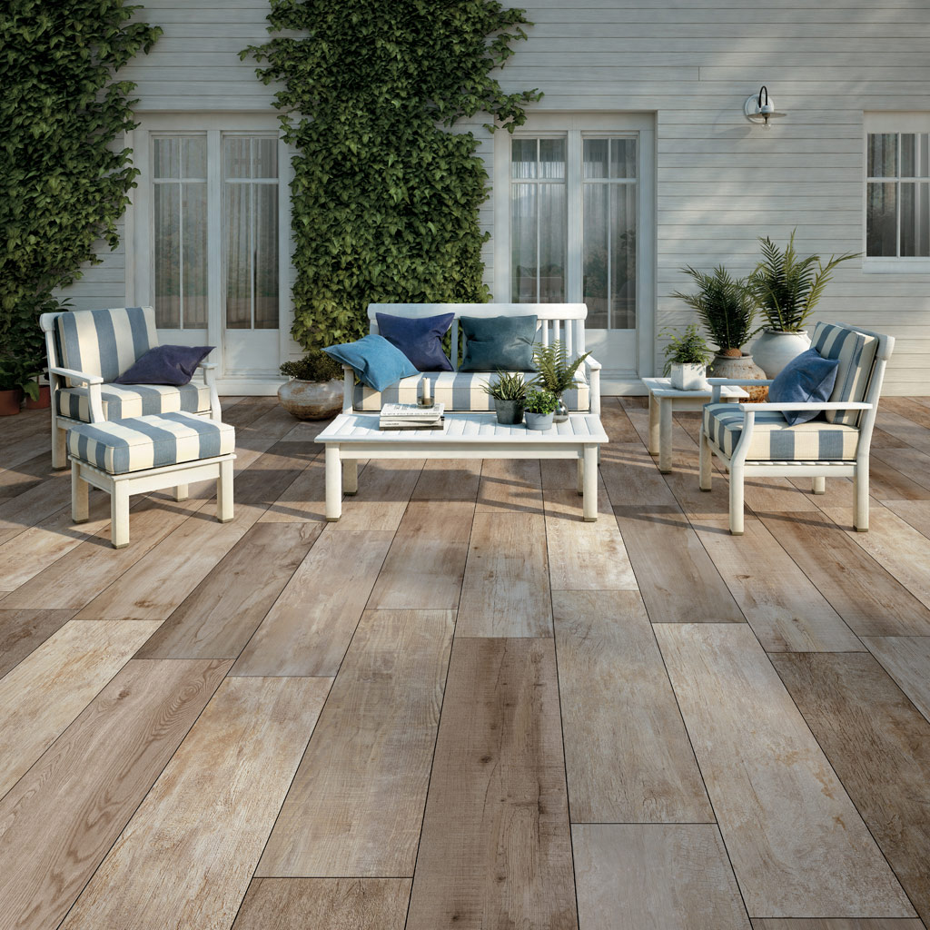 SUP Day Porcelain Paver with White Ash Wood Finish Outdoor Living Room - HDG Building Materials