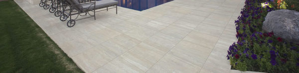 Warm Light Grey Travertine 60x60 cm Porcelain Paver in Pool Surround and Decking Application - HDG Building Materials