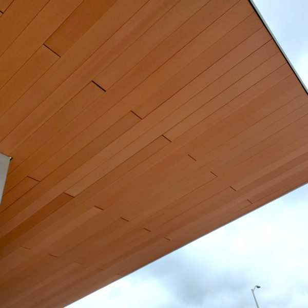 Edge Detail of Resysta Ceiling Cladding around Fascia and Structure