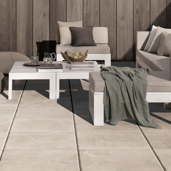 Brussa Crema 20x30 cm Porcelain Pavers on Patio - HDG Building Materials
