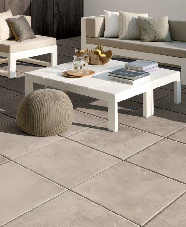 Brussa Crema 60x60 cm Porcelain Pavers in Outdoor Living Room - HDG Building Materials