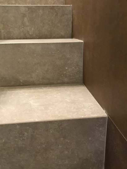 Brussa Crema Porcelain Paver Stairs detail - HDG Building Materials