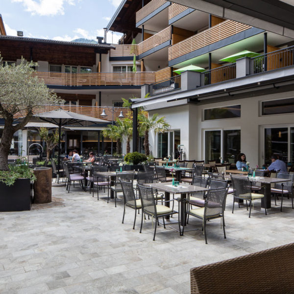 Hotel Srtoblhof Outdoor Dining Silas Gold and Silas White and Silas Grey Porcelain Pavers - HDG Building Materials