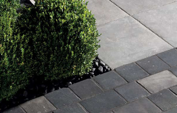 Namo Black transitions into Centaur Grey 60x60 cm Porcelain Pavers - HDG Building Materials