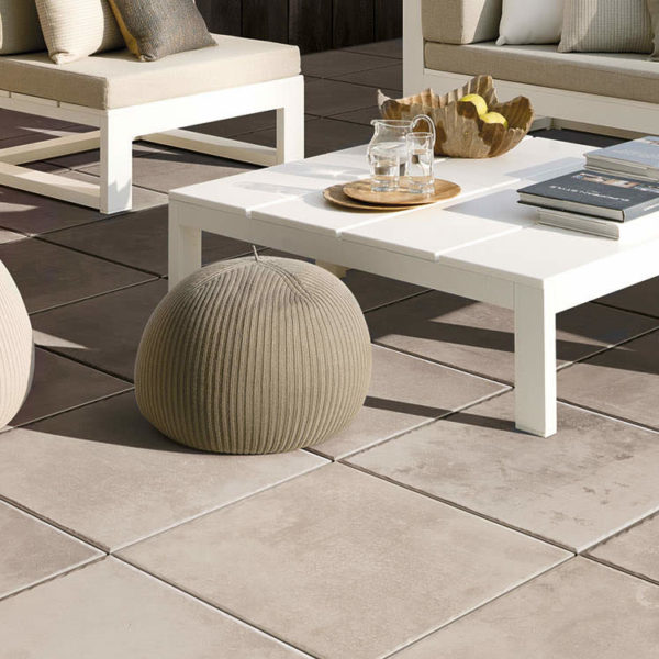 Outdoor Seatting with Brussa Crema 20x20 cm and 20x30 cm Porcelain Pavers - HDG Building Materials