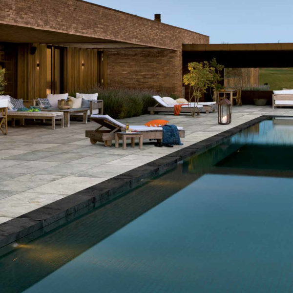 Pool Surround with 60x120 cm Silas White Porcelain Tile - HDG Building Materials