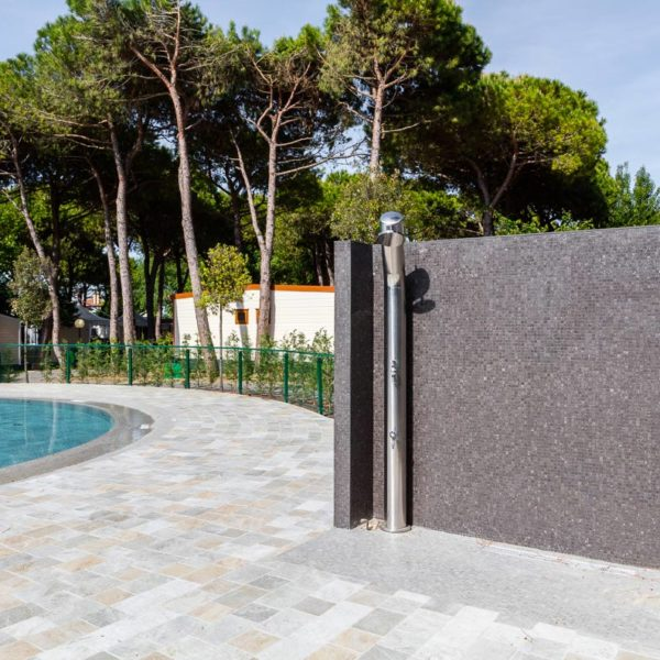 Pool Surround with Variety of Porcelain Pavers including 30x30 cm Centaur Grey - HDG Building Materials