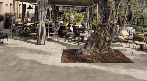 Restaurant Outdoor Seatting with Porcelain Pavers Brussa Brema 20x20 cm and 20x30 cm - HDG Building Materials
