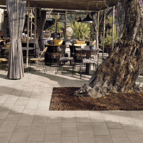 Restaurant Outdoor Seating with Porcelain Pavers Brussa Crema 20x20 cm and 20x30 cm - HDG Building Materials