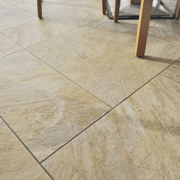Silas Gold 30x60 and 60x60 cm Porcelain Pavers in Modern Dining Room Application - HDG Building Materials