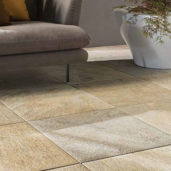 Silas Gold 60x60 cm Porcelain Pavers in Outdoor Living Room - HDG Building Materials