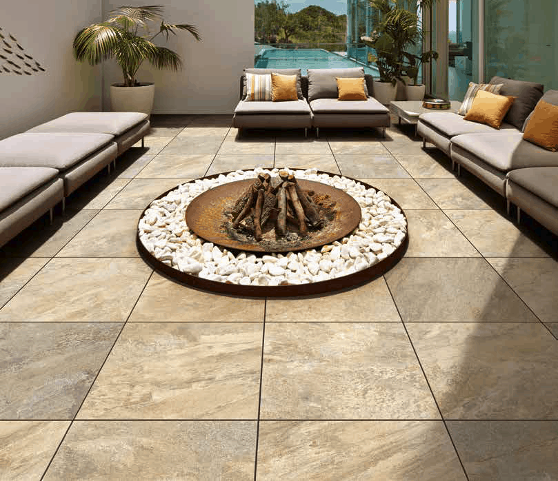 Silas Gold Porcelain Pavers in Poolside Terrace 60x60 cm - HDG Building Materials