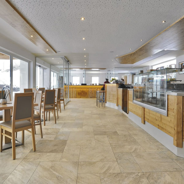 Silas Gold Porcelain Pavers in Restaurant Design 30x30 cm and 60x60 cm - HDG Building Materials