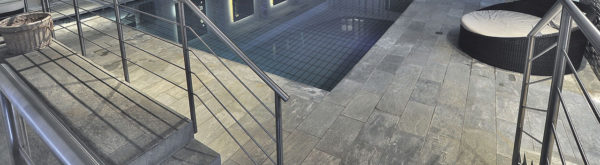 Silas Grey 30x60 cm Porcelain Paver in Poolside Spa Application - HDG Building Materials