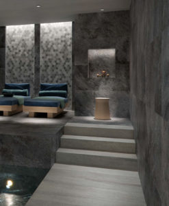 Silas Rain Porcelain Paver Spa Floor and Wall Application - HDG Building Materials