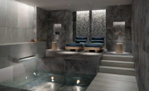 Silas Rain Porcelain Pavers in Spa Application 60x60 cm Wall and 30x120 cm Floor - HDG Building Materials
